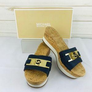 NWT Michael Kors Warren Platform Sandals Navy